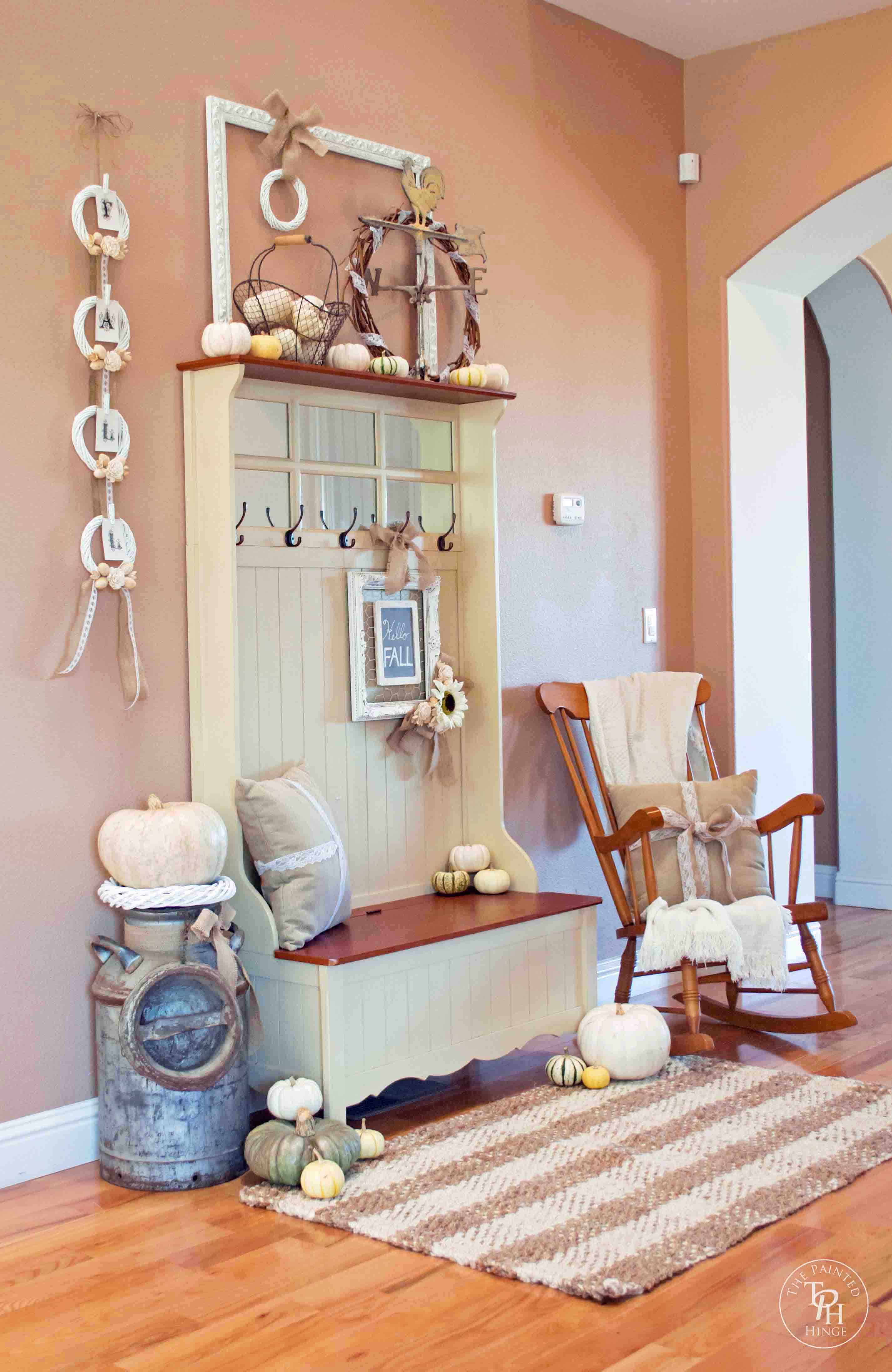 shabby chic fall entryway bench. Black Bedroom Furniture Sets. Home Design Ideas