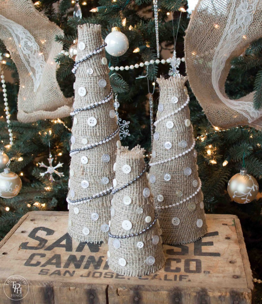Christmas Tree For 2014: Burlap And Buttons Christmas Tree Tutorial
