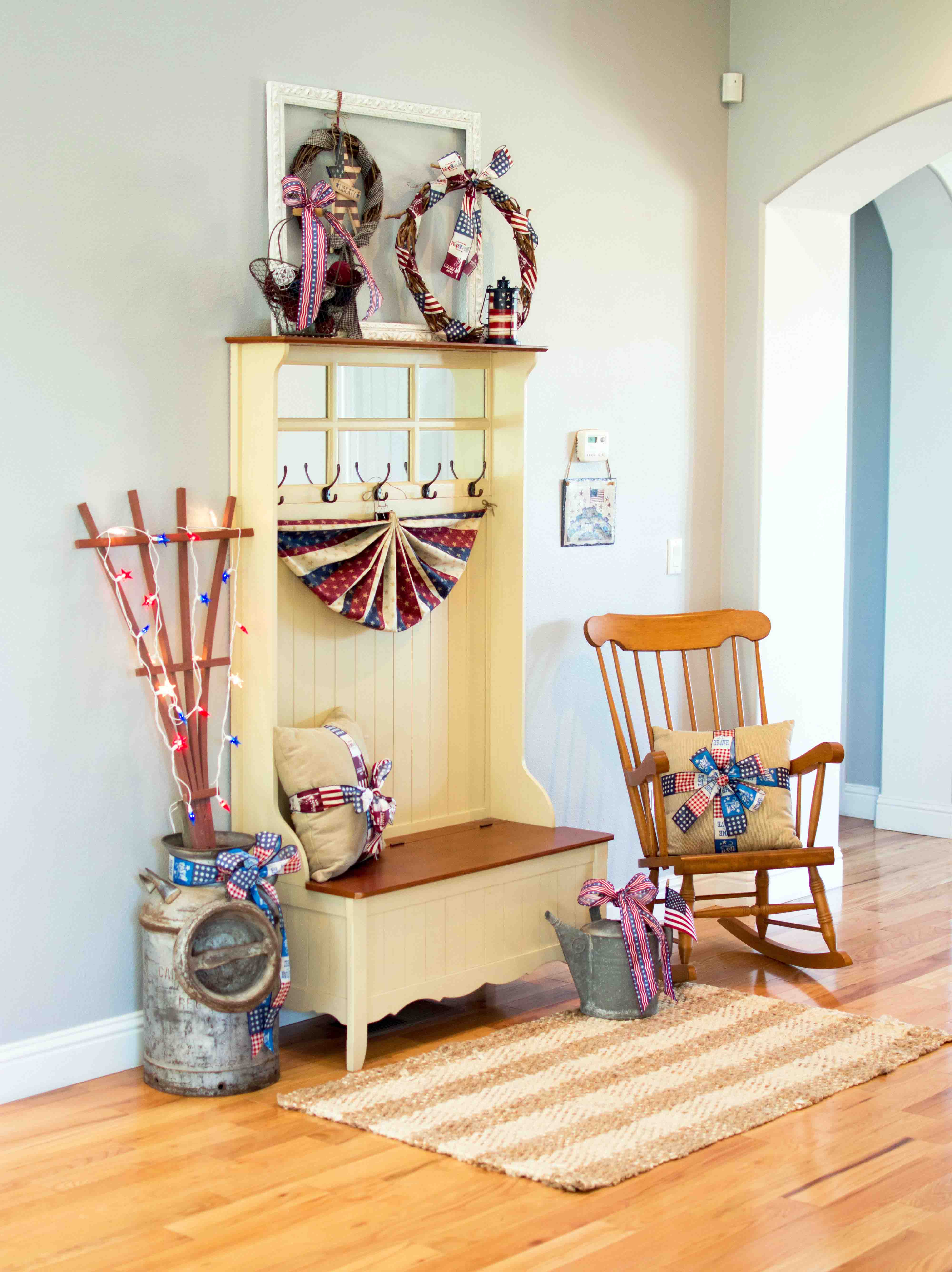 Foyer Seating Year : Patriotic th of july entryway bench